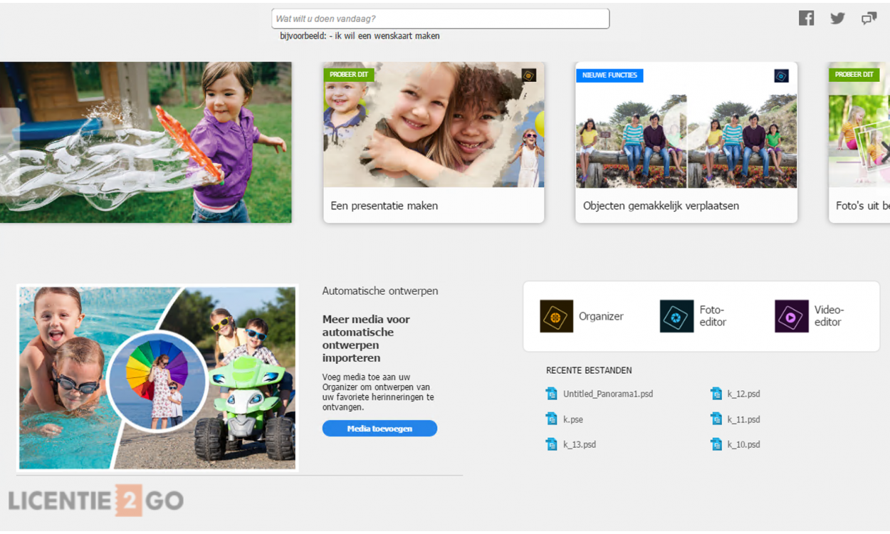 Adobe Photoshop Elements beginscherm
