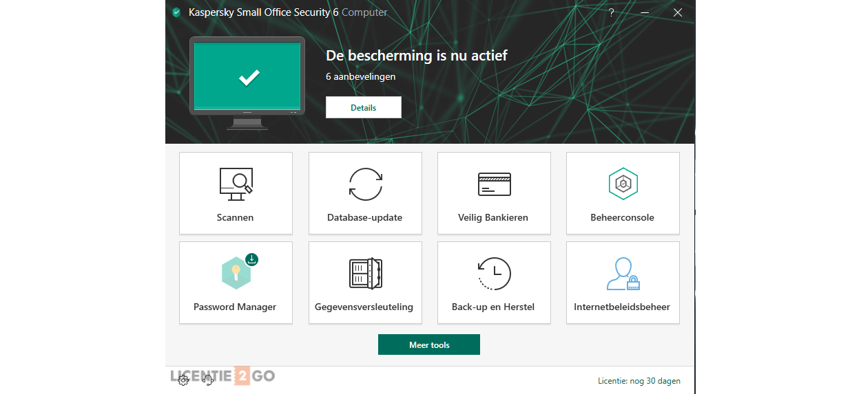 Kaspersky Small Office Security hoofdscherm