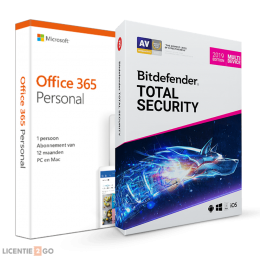 Office (2016) voor Windows PC's: Voordeelbundel: Office 365 Personal + Bitdefender Total Security 5 apparaten 1 jaar