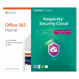 Office (2016) voor Windows PC's: Voordeelbundel: Office 365 Home 6 Gebruiker + Kaspersky Security Cloud Family 20 apparaten 1 jaar