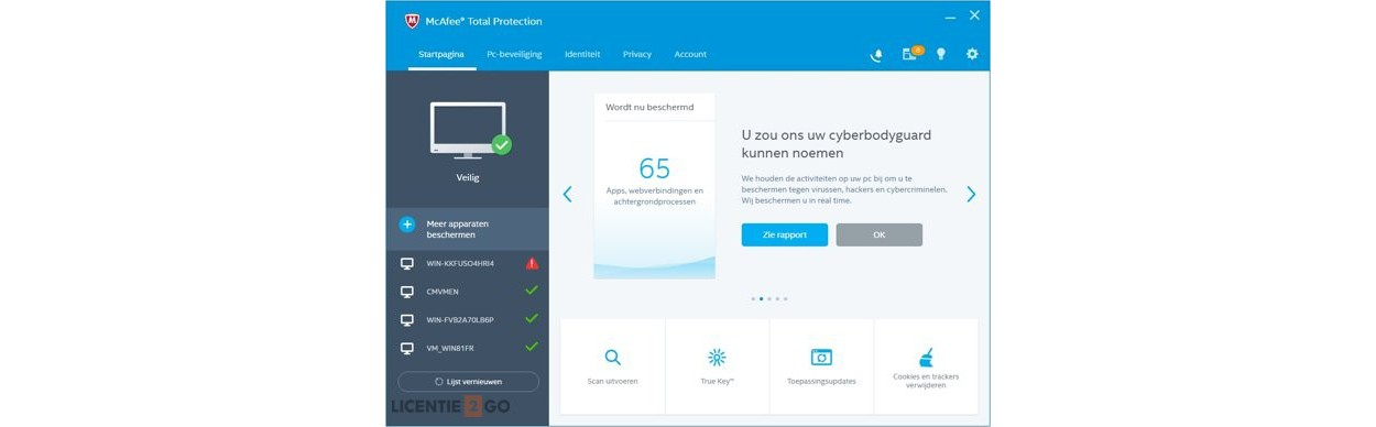 McAfee Total Protection 2019   10Apparaten - 1jaar   Windows - Mac - Android - iOS