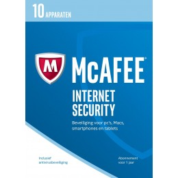 McAfee Internet Security 10-Apparaten 1jaar