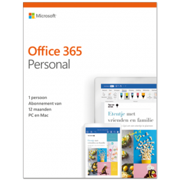 Office (2016) voor Windows PC's: Microsoft Office 365 Personal| 1Gebruiker 1jaar | Windows | Mac | Android | iOS | Updates inbegrepen