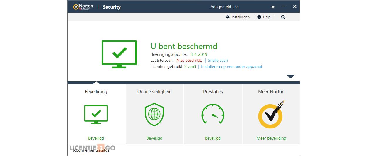 Norton Security hoofdscherm
