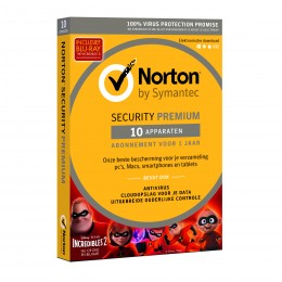 Antivirus: Norton Security Premium 10-Apparaten + 25GB Backup 1jaar 2019