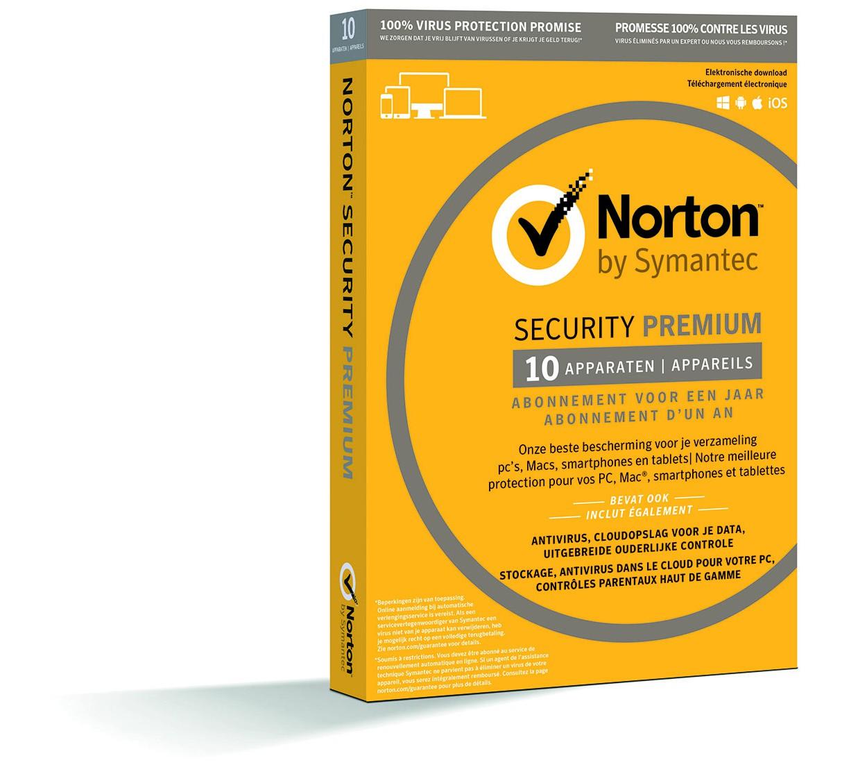 Norton Security Premium 10-Apparaten + 25GB Backup 1jaar 2019