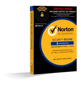 Norton Security Deluxe + WiFi Privacy 5-Apparaten 1jaar 2019