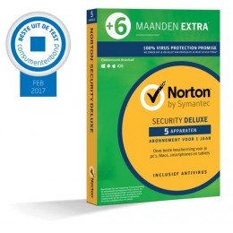 Norton Security Deluxe 5-Apparaten 1,5jaar