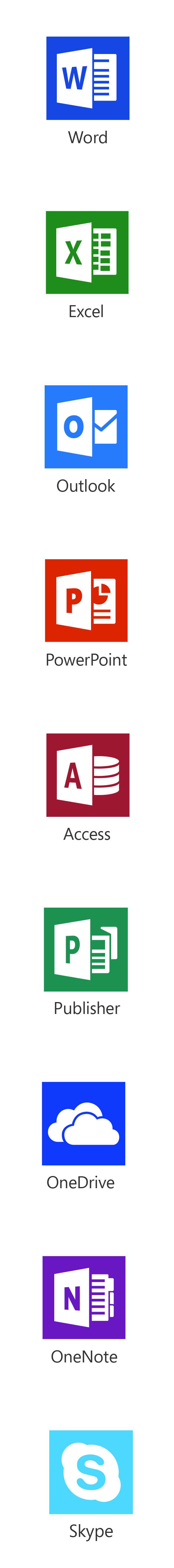 Office programma's inbegrepen bij Office 365: Word, Excel, Outlook, Powerpoint, Access, Publisher, OneDrive, OneNote, Skype