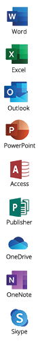 Office programma's inbegrepen bij Microsoft 365: Word, Excel, Outlook, Powerpoint, Access, Publisher, OneDrive, OneNote, Skype